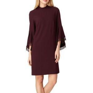 NWT Tahari ASL Purple Lace Bell Sleeve Shift Dress